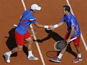 PLÁCNI SI. Čeští tenisté Tomáš Berdych (vlevo) a Radek Štěpánek se radují ve čtyřhře daviscupového semifinále ve Francii.