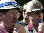 D�lníci v kladenské huti Poldi v hodinové výstra�né stávce protestovali proti...