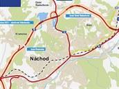 Plánovaný obchvat Náchoda na silnici I/33.
