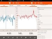 Tři obrazovky z mobilní aplikace. Graf tempa, srdeční aktivity a celkové...