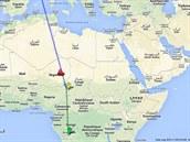 Trasa letu UTA 772: Let odstartoval z konžského Brazaville (zelená šipka) a měl...