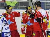 Pavel Patera, Erik Hr�a a Pavel Skrbek (zleva) oslavují olomoucký gól, vpravo...