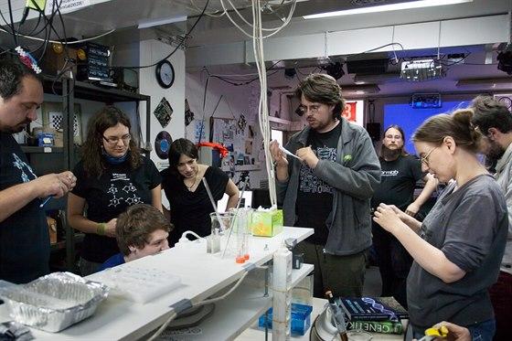 Workshop v�novan� elektrofor�ze (Radka Hane�kov� druh� zleva)