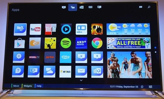 Výběr aplikací v menu televizoru s Android 4.3 Jelly Bean.