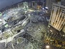 Muslim pilgrims pray around the holy Kaaba at the Grand Mosque during the...