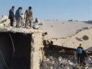 Dům, který byl pravděpodobně zničen leteckým úderem spojenců v oblasti mezi...
