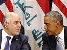 Irácký premiér Hajdar Abádí (vlevo) na setkání s americkým prezidentem Barackem...