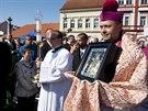 Korunovace Palladia na svatováclavské mši ve Staré Boleslavi.