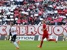 Momentka ze zápasu Brno - Plzeň.
