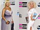 Zp�va�ka Christina Aguilera: s kily nav�c v listopadu 2012 a �t�hl� jako proutek o rok pozd�ji.
