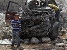 Následky leteckých úderů u syrského města Idlib (24. září 2014)