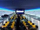 Nový velkoprostorový vagón, který pro RegioJet vyrobila rumunská vagónka Astra.