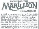 Letáček zve na zájezd na brněnský kobncert skupiny Marillion v roce 1989, který
