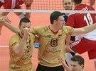Radost volejbalistů Německa v semifinále mistrovství světa proti Polsku.