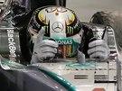 RADOST. Lewis Hamilton po triumfu ve Velké ceně Singapuru.