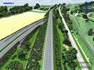 Před obcí Spytihněv by měla R55 vjet do krátkého tunelu, díky němuž auta podjedou současnou silnici první třídy a železnici. Vizualizace je z roku 2004.