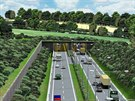 Za krátkým tunelem bude R55 pokračovat kolem Spytihněvi směrem na Babice. Vizualizace je z roku 2004.