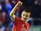 Jordan Rossiter z Liverpoolu se raduje ze svého gólu proti Middlesbrough.