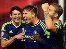 Fotbalisté Middlesbrough slaví trefu proti Liverpoolu.