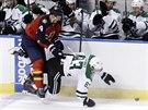 Aleš Hamský z Dallasu padá na led po střetu s floridským Dylanem Olsenem.