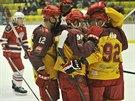 Gólová radost jihlavských hokejistů v utkání s Havlíčkovým Brodem