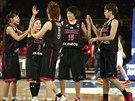Radost japonských basketbalistek v utkání s Českem