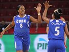Radostné plácnutí kubánských basketbalistek