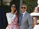 Amal Alamuddinová a Geroge Clooney druhý den po svatbě (Benátky, 28. září 2014)