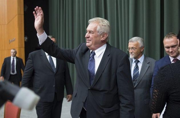Prezident Milo� Zeman na setkání se studenty Univerzity Tomá�e Bati ve Zlín�...