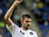 Lubo� Kalouda ze Slovácka slaví gól proti bývalým spoluhrá��m z Dukly.