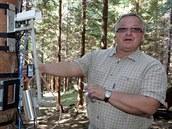 Michal Marek v beskydské výzkumné laboratoři účinku skleníkových plynů na lesní...