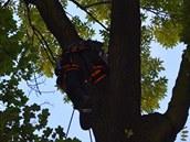 Lezec v akci. Na žebříku se hasiči ke zraněnému nedostali, na řadu přišli lezci.