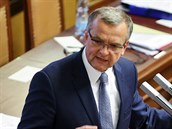 Místop�edseda TOP 09 Miroslav Kalousek p�i jednání sn�movny (25. zá�í 2014)
