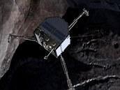 Modul Philae nad kometou v ilustraci ESA
