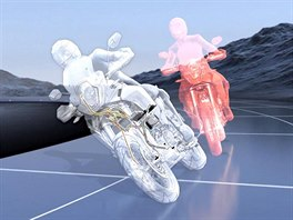 Při brzdění vzatáčce se motorka automaticky narovnává (červená), stabilizace tomuto jevu zabrání a motorka pokračuje voblouku.