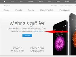 Rezervace iPhonu na stránkách Applu