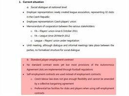 Dopis UEFA, který shrnuje lednovou inspekci v Praze.