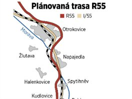 Trasa plánované rychlostní silnice R55 z Otrokovic k Břeclavi.