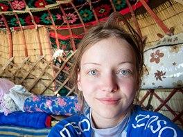 V jurtě v Kazachstánu, kde mě ubytovali starší manželé. Za mnou postel, na...