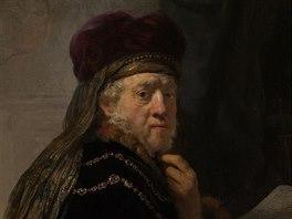 Rembrandtův obraz Učenec ve studovně před restaurováním