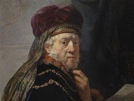 Rembrandtův obraz Učenec ve studovně po restaurátorském zásahu