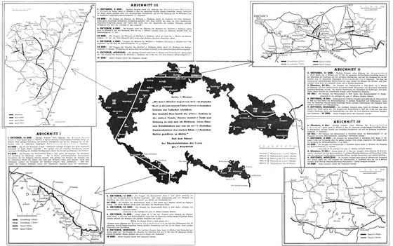 Dobová schematická mapka zachycující rozsah odstoupeného území a jeho dělení na etapy.