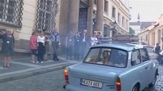 Trabanty v Praze v roce 1989