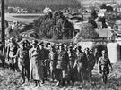 Vůdce nezapomněl navštívit ani severní Moravu, tento známý snímek jej zachytil při prohlídce objektu lehkého opevnění u Nových Heřminov na Bruntálsku.