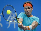 SOUST�ED�N�. Rafael Nadal na turnaji v Pekingu p�i sv�m n�vratu po zran�n�.