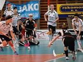 Momentka z utkání ligy florbalistek Girls FBC Liberec - Elité Praha.