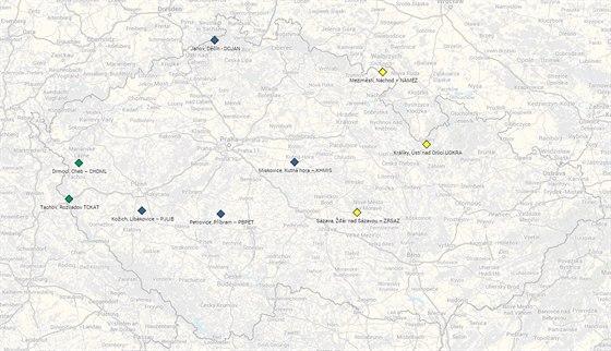 Mapa rozhleden soutěže Najdi Vodafone Turbo Internet