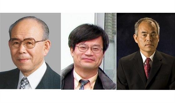 Laureáti Nobelovy ceny za fyziku 2014 za objev modrých LED diod. Zleva: ...