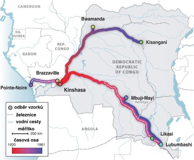 Mapka předpokládaného průběhu šíření viru HIV v oblasti Konga. Kroužky...