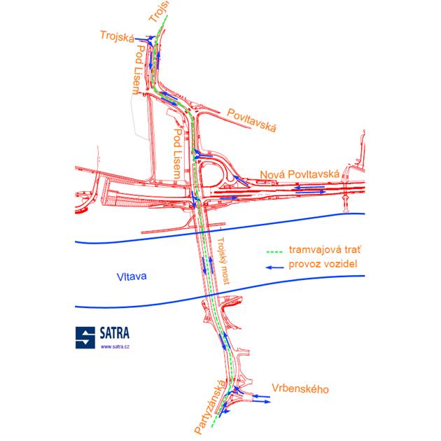 Schéma organizace dopravy v okolí Trojského mostu